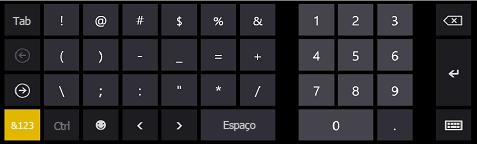 Teclado em tela do Windows 8 para entrada de número de telefone